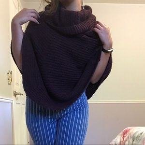 Accessories - NWOT Burgundy Knit Poncho, Made in Italy